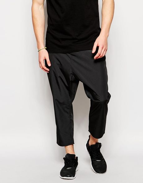Asos Drop Crotch Pants In Cropped Fit In Black For Men Lyst