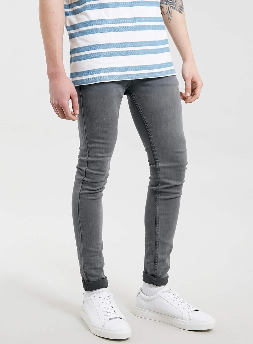 topman light grey spray on skinny jeans in gray for men  lyst
