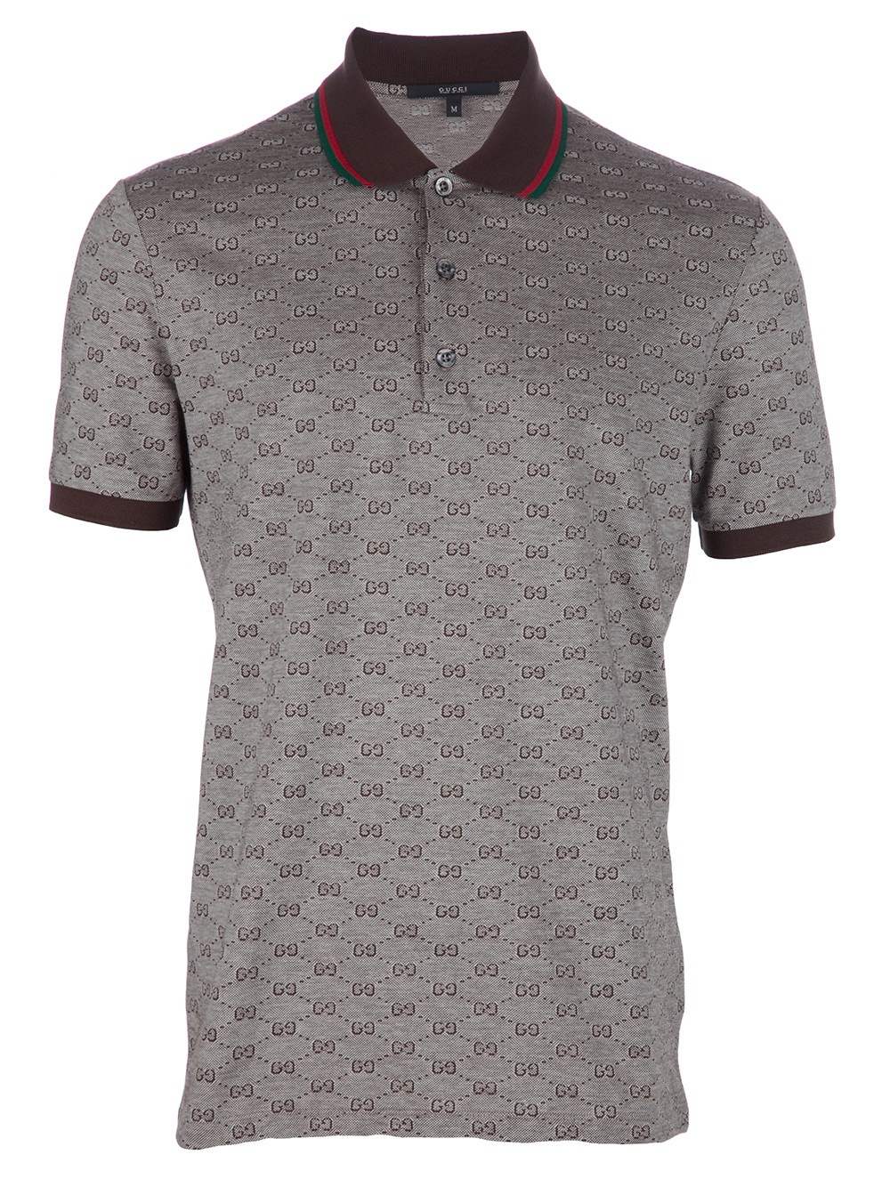 Gucci monogram polo shirt in brown for men lyst for Initials on dress shirts