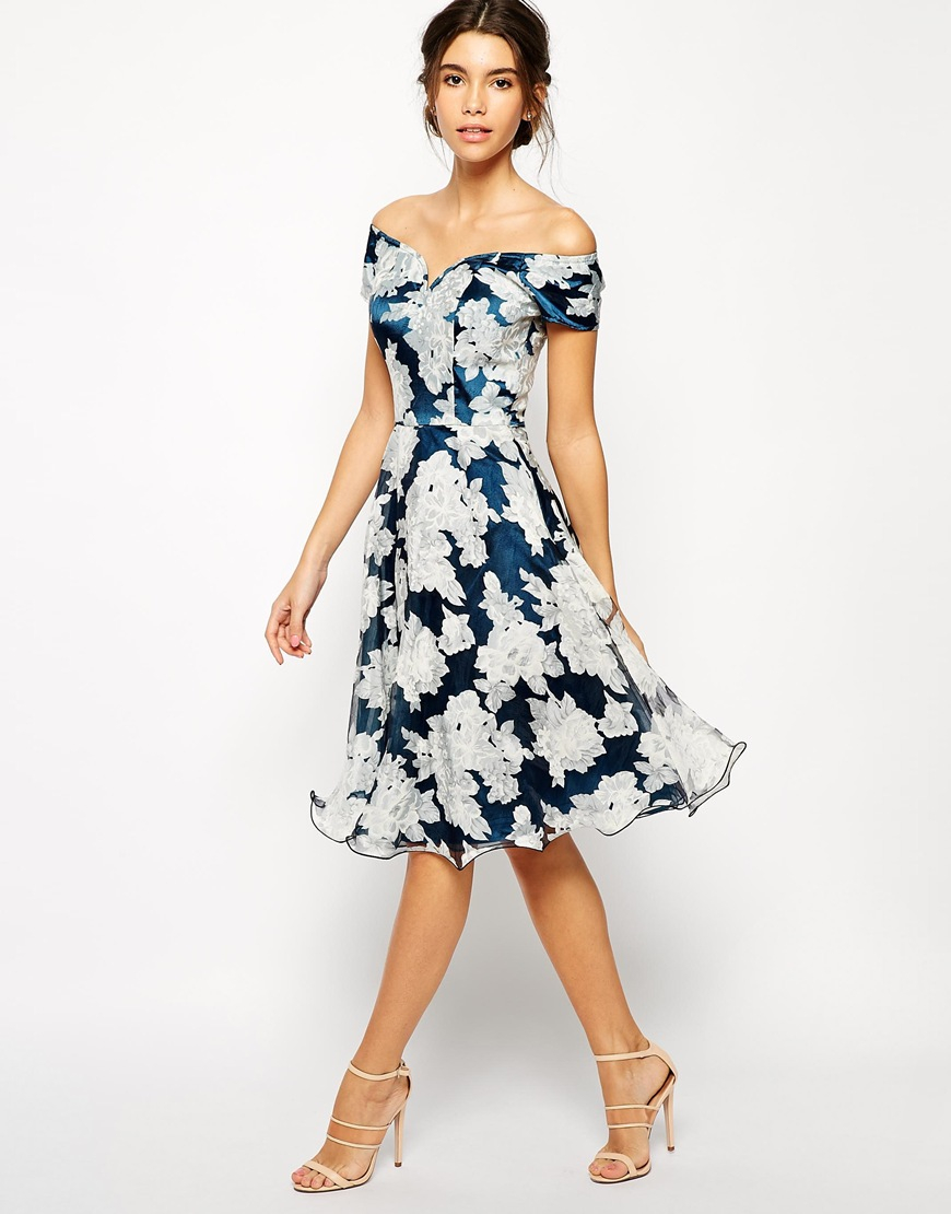 Chi chi london printed organza midi prom dress with bardot for Dresses for wedding guests uk