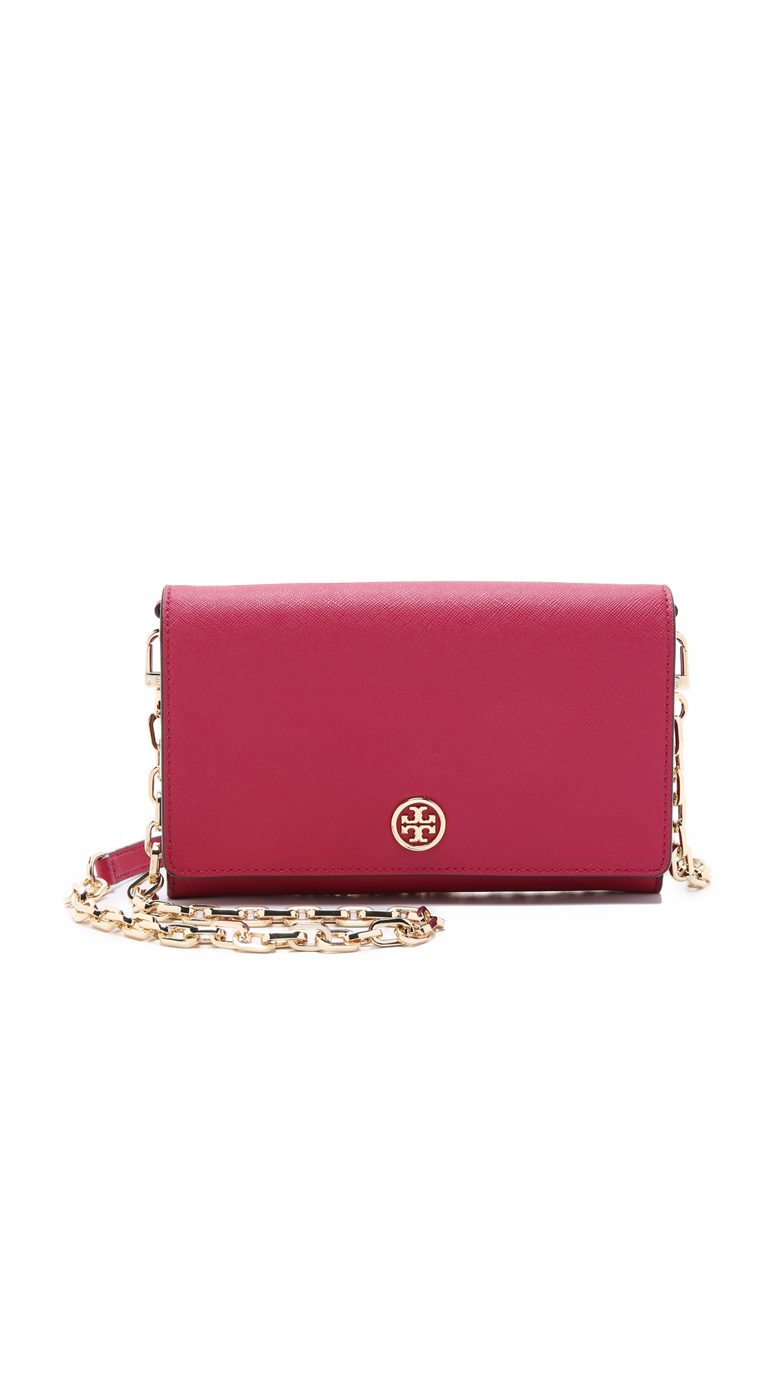 ce49ed543a0 Tory Burch Robinson Chain Wallet - Raspberry in Red - Lyst