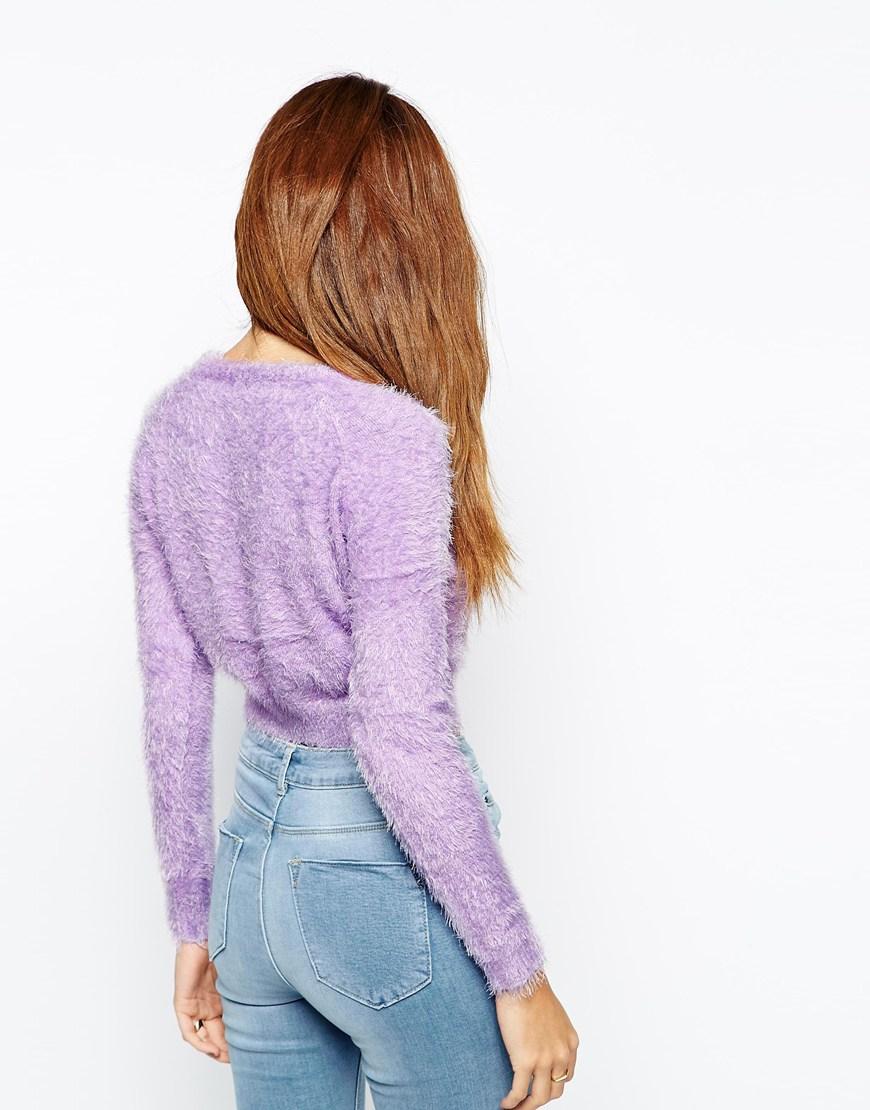 Oh my love Fluffy Crop Jumper in Purple | Lyst