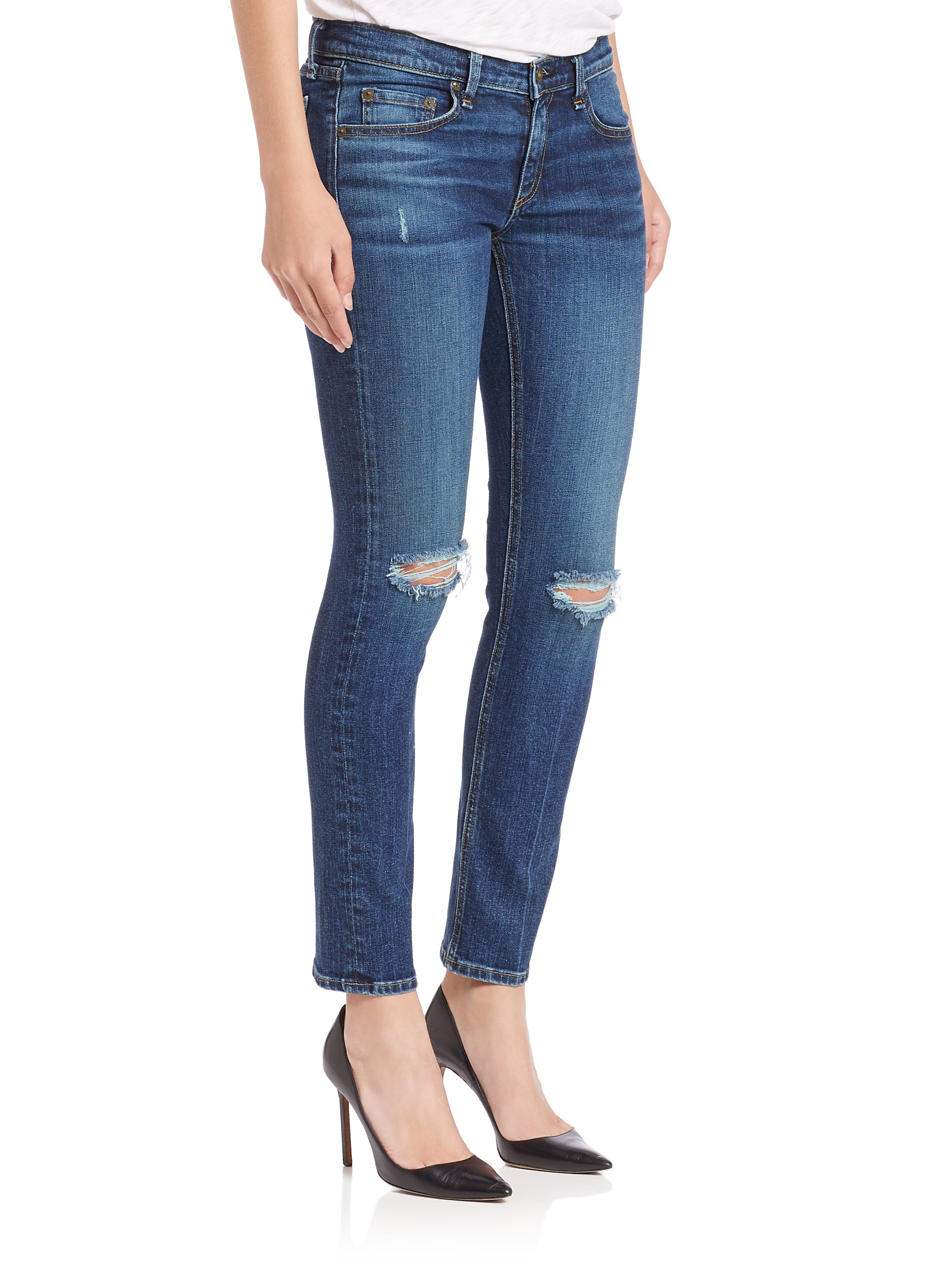 Rag & bone Mid-rise Distressed Cropped Skinny Boy Jeans in Blue | Lyst
