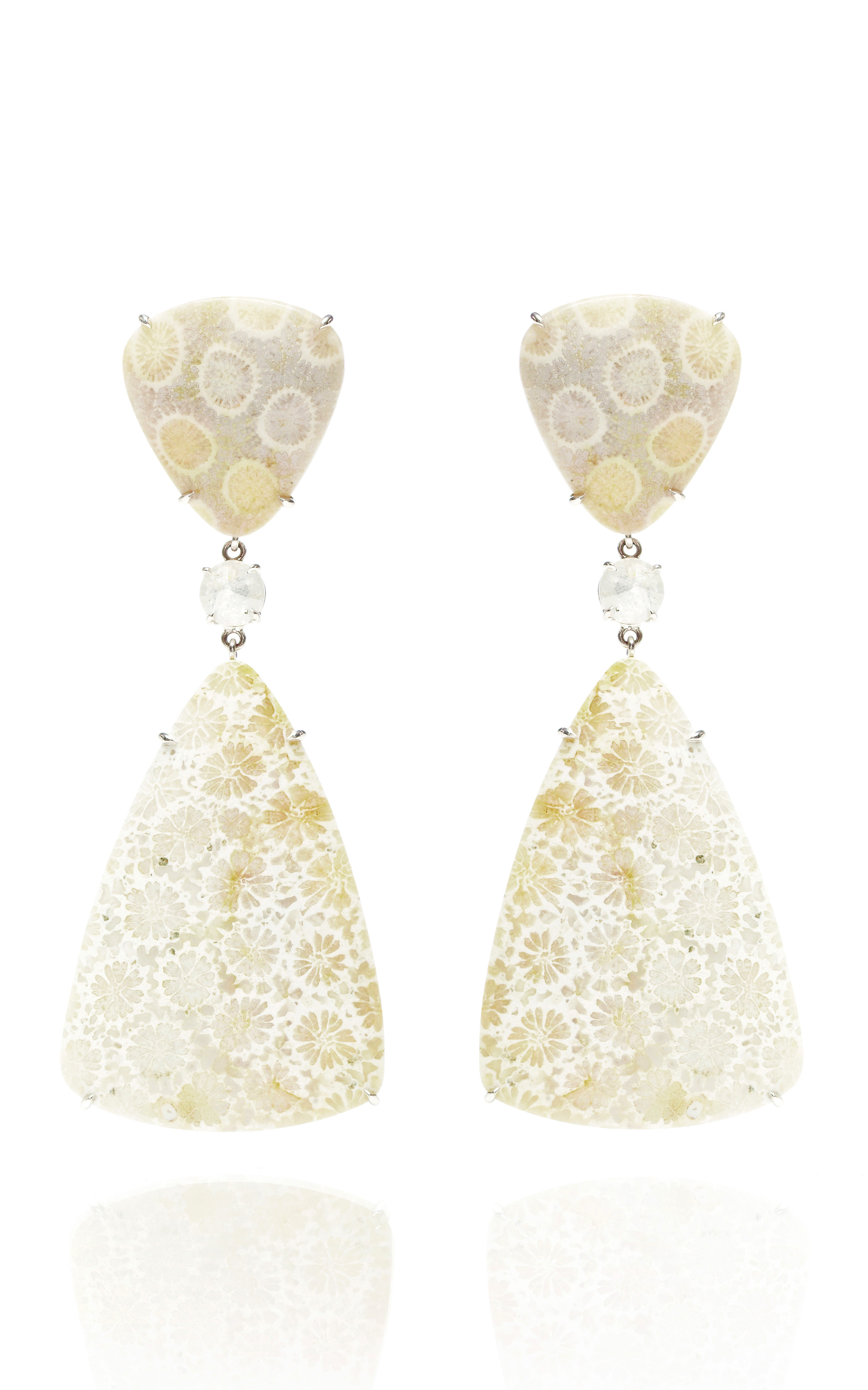 Lyst Nina Runsdorf Fossilized Coral and Icy Diamond Earrings in