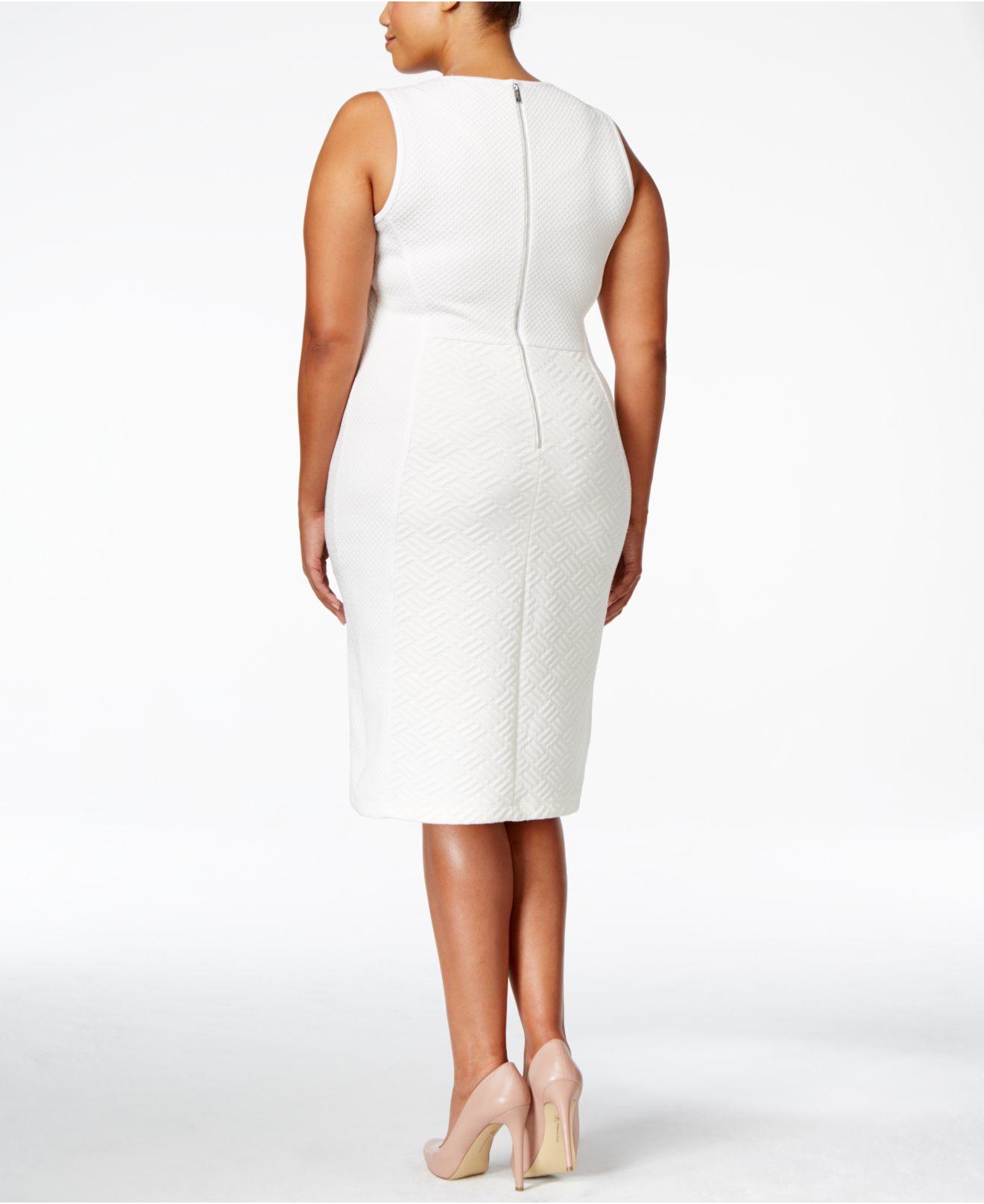 0474d911 Calvin Klein Plus Size Sleeveless Textured-knit Sheath Dress in ...