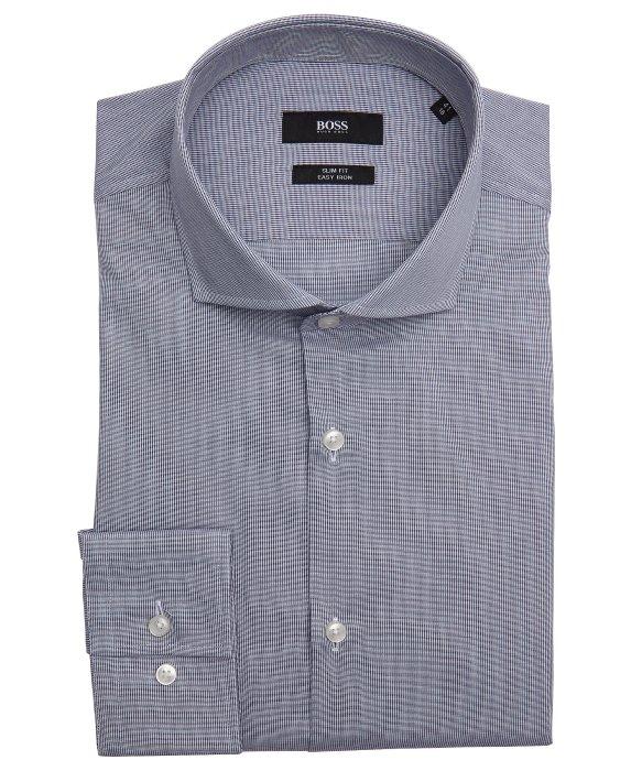 Lyst boss navy cotton 39 jason 39 spread collar slim fit for Hugo boss jason shirt