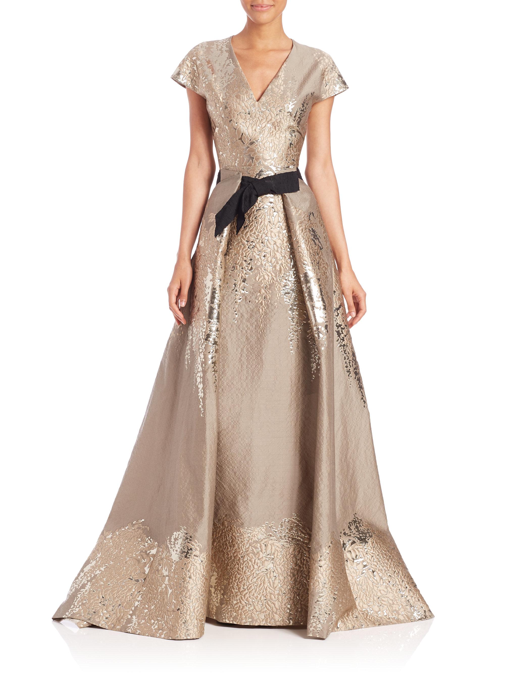 Lyst Carolina Herrera Westeria Metallic Jacquard Gown In Metallic