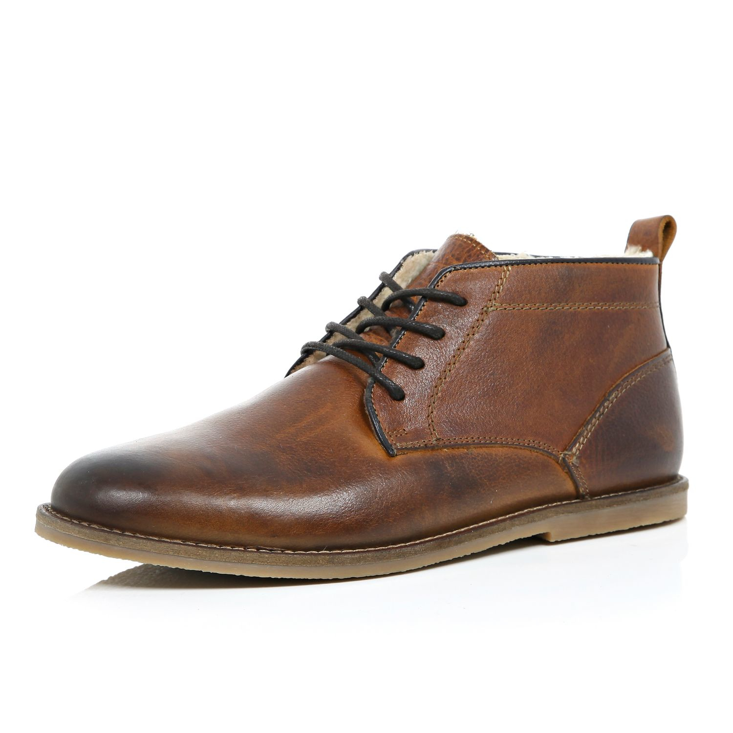 River Island Brown Leather Desert Boots