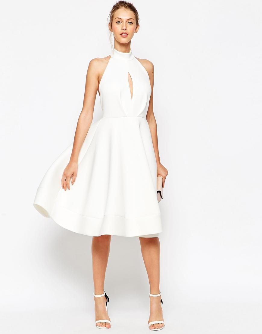 Asos Halter Neck Full Midi Dress With Plunge in White | Lyst