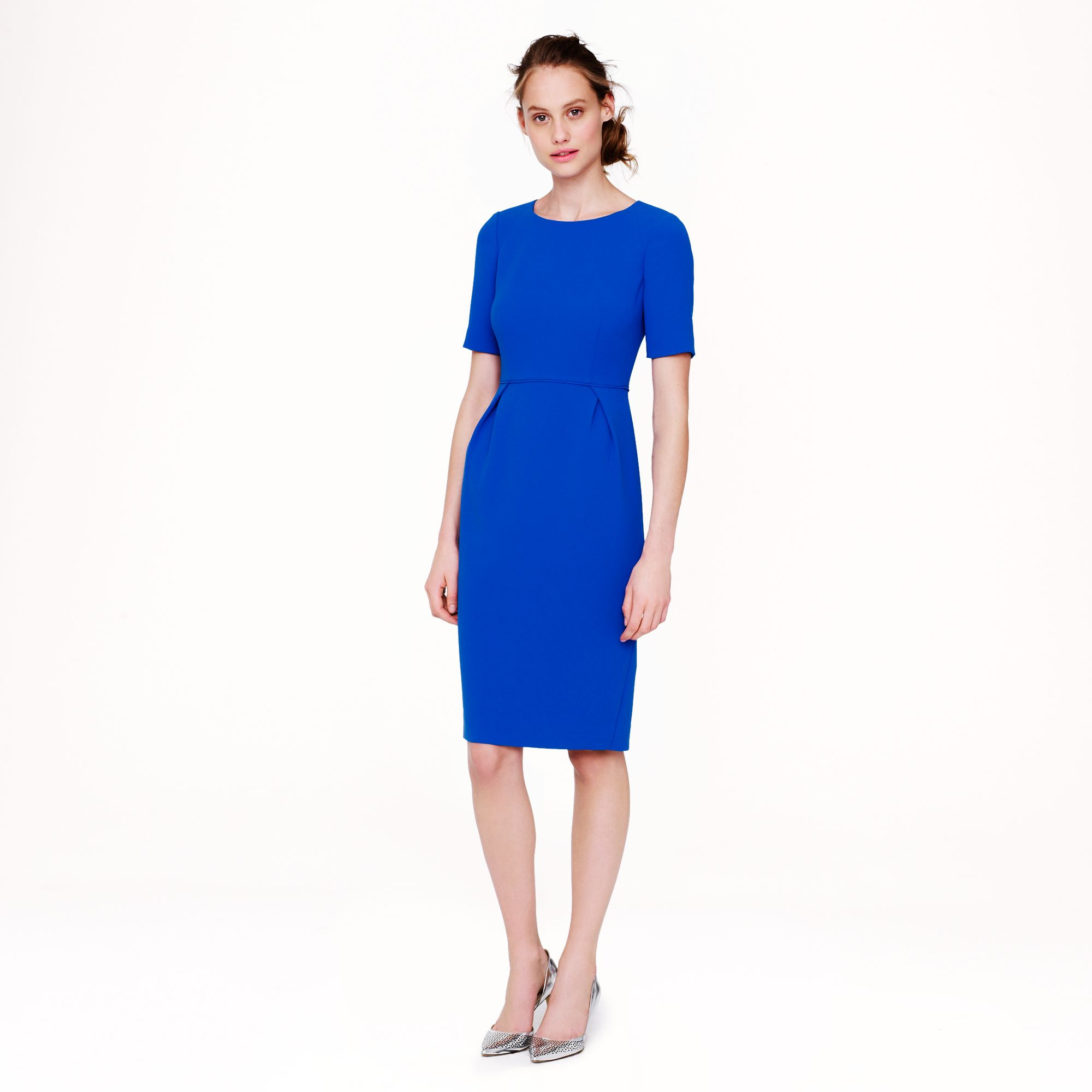 J Crew Tall Crepe Short Sleeve Dress In Blue Blue Grotto
