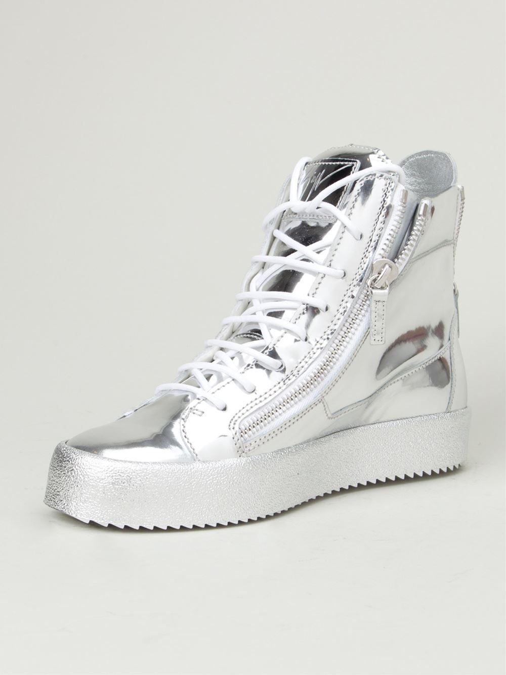 Giuseppe Zanotti Metallic Hi Top Sneakers In Silver For