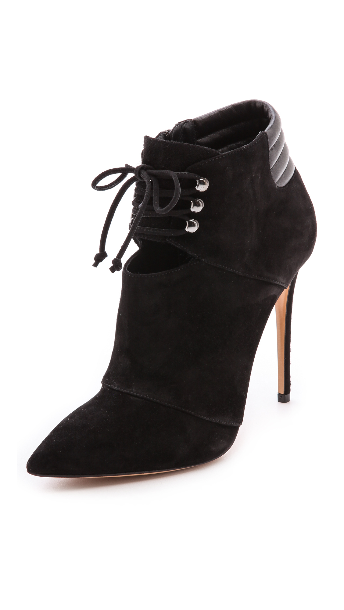 Lyst Casadei Lace Up Booties Black In Black