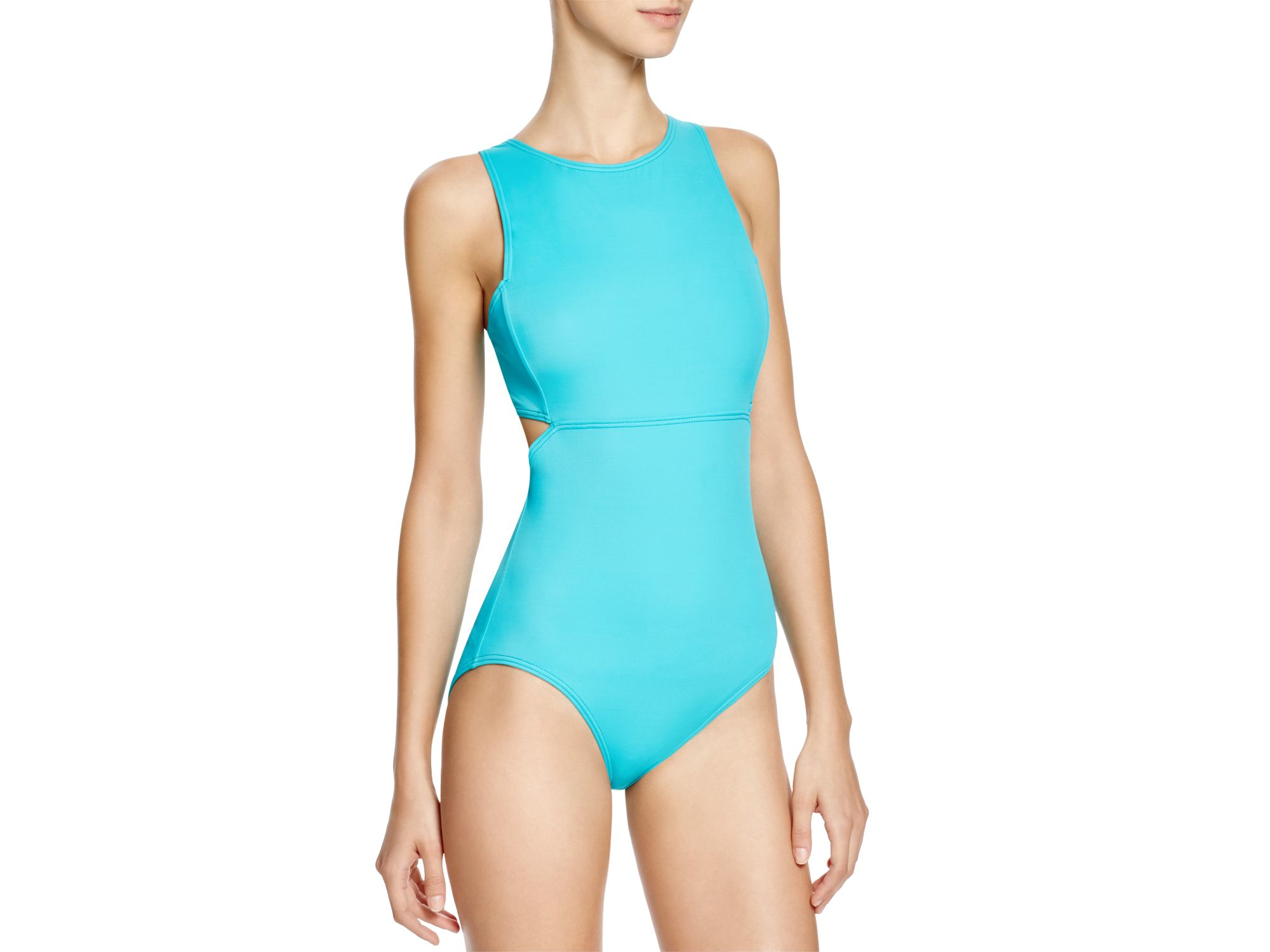 Electric DKNY Women/'s High-Neck Cutout One-Piece Swimsuit