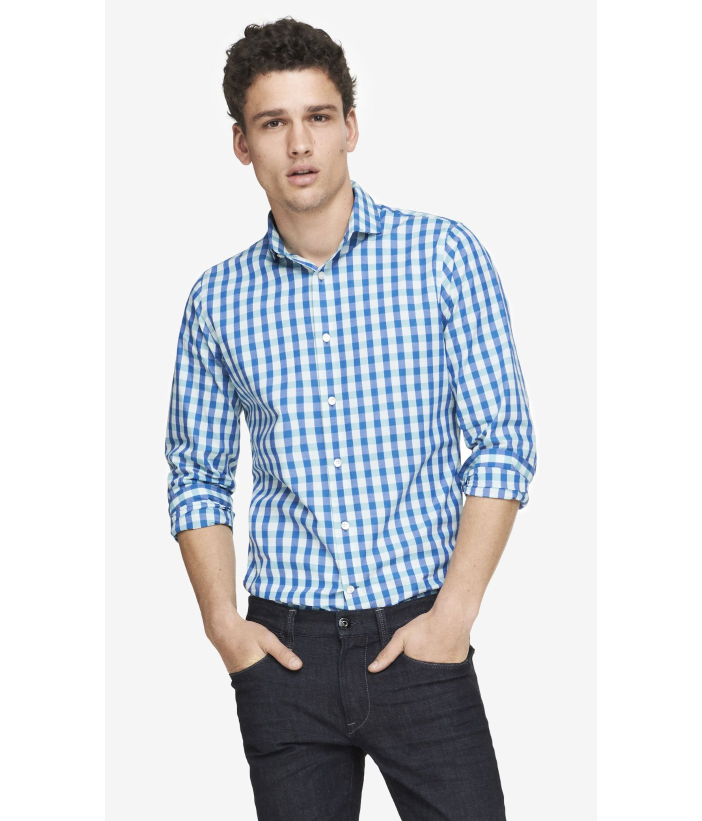 Express extra slim small check dress shirt in blue for men for Extra slim dress shirt