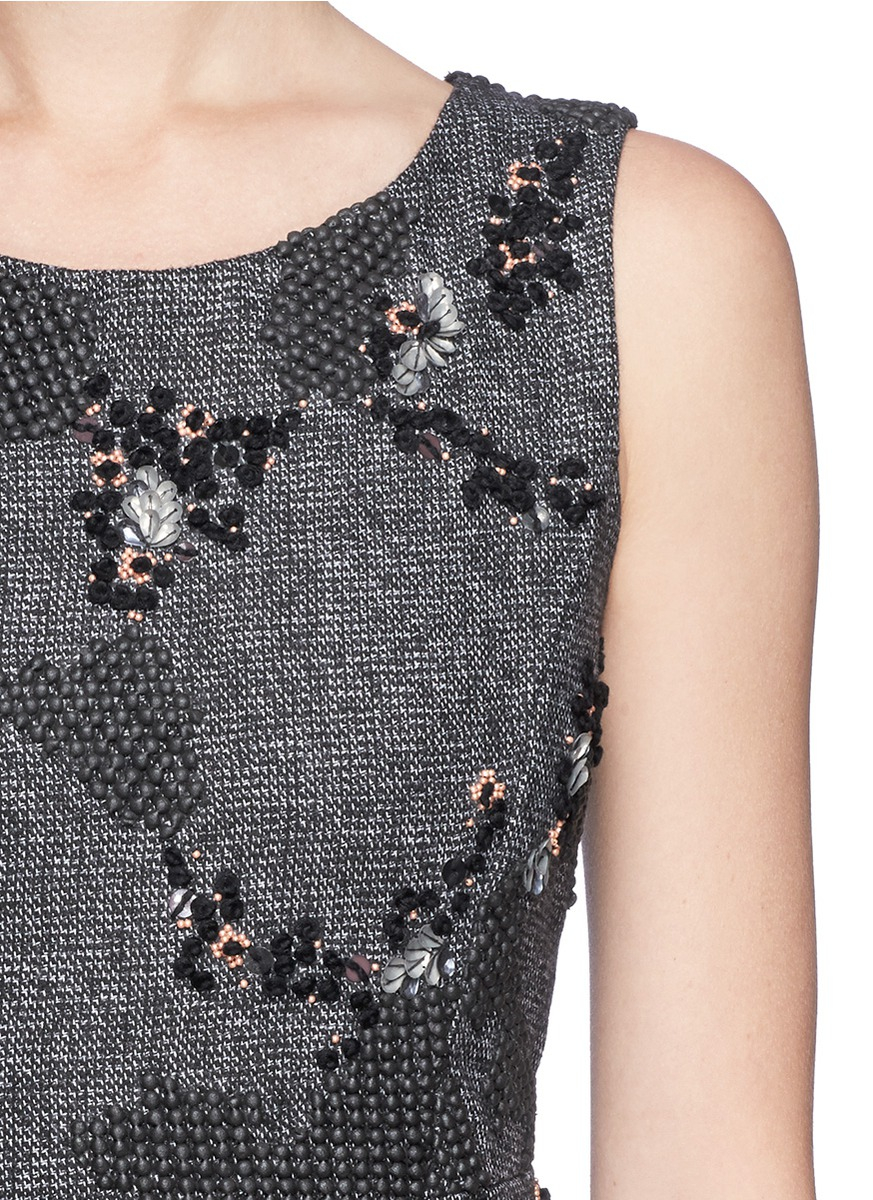 Theory Dophal Rubber Flock Sequin Wool Blend Dress In