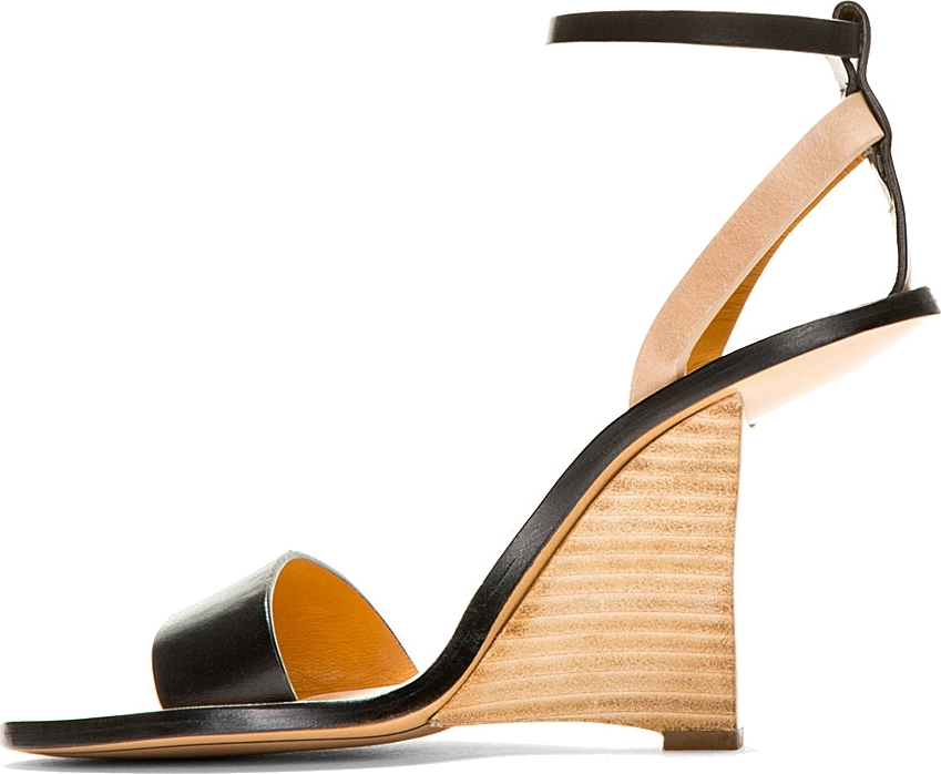 Lyst Chlo 233 Black Leather Cut Out Wedge Sandals In Natural