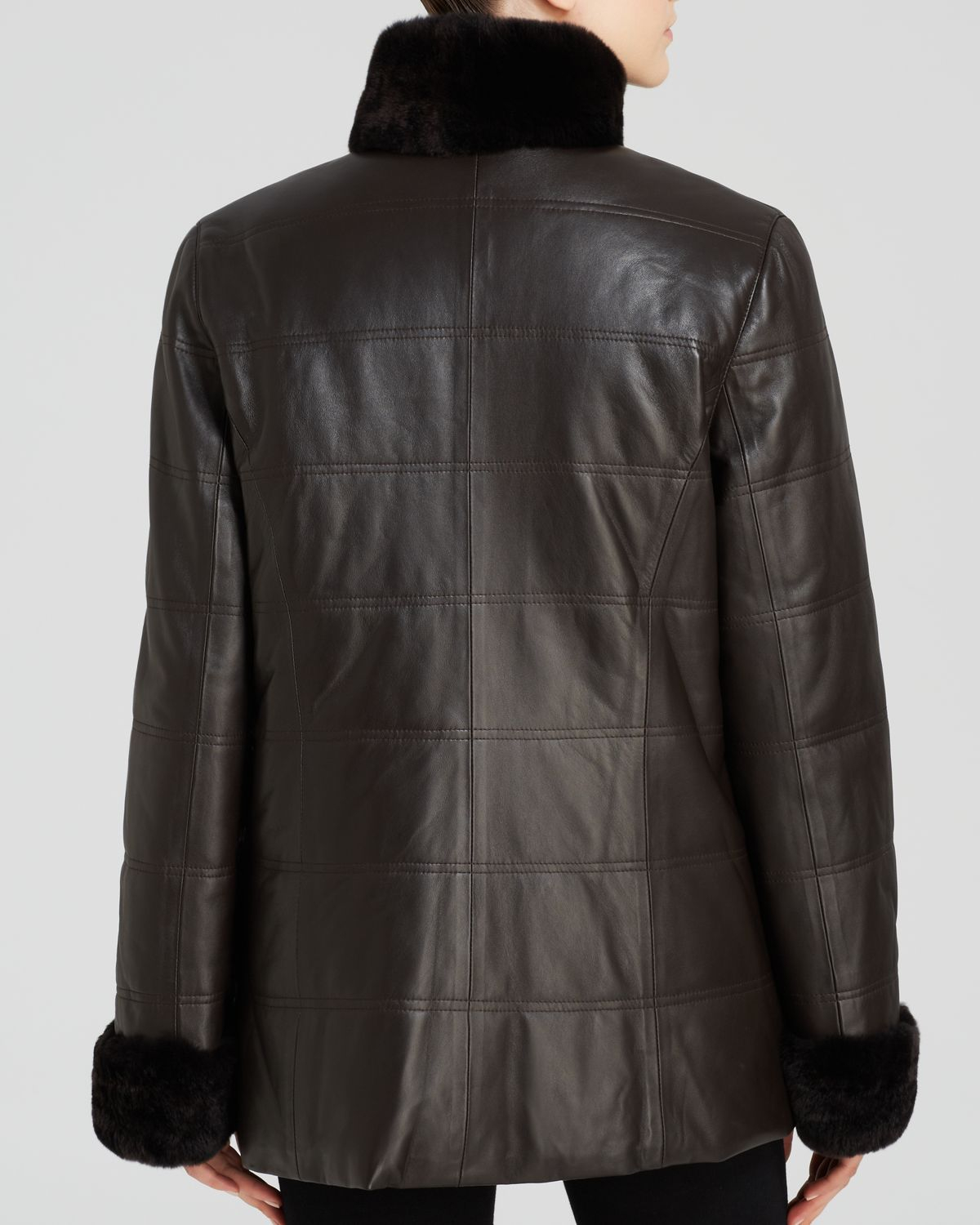 Lyst Maximilian Leather Jacket With Rabbit Fur Collar