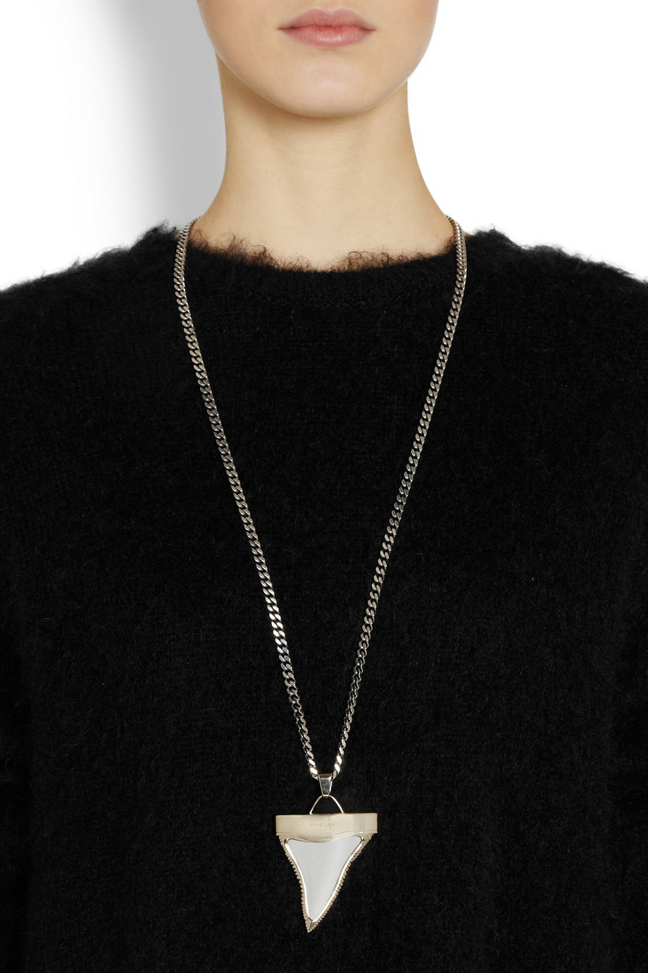 93ba36387c3e7 Givenchy Metallic Shark Tooth Necklace In Palladium-Tone And Pale Gold-Tone  Brass