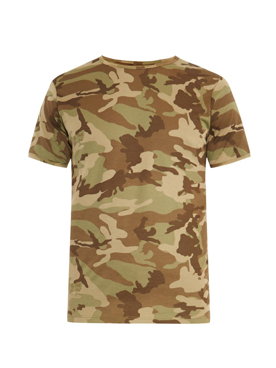 The white briefs camo print cotton t shirt in green for for Camouflage t shirt printing
