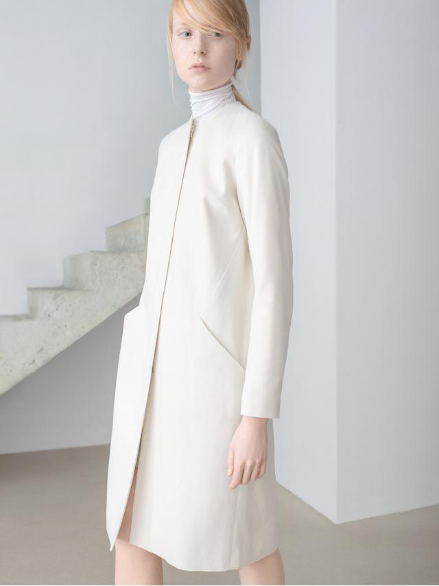 Thisisnon Raw Silk White Coat Dress in White | Lyst