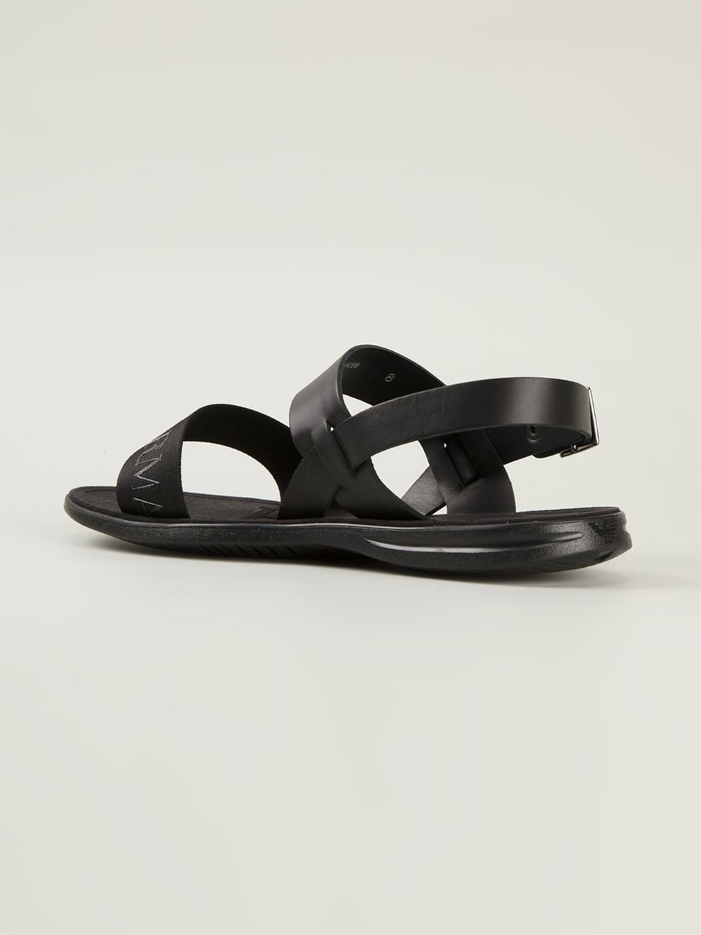 3b38790558be Emporio Armani Embossed Logo Strap Sandals in Black for Men - Lyst