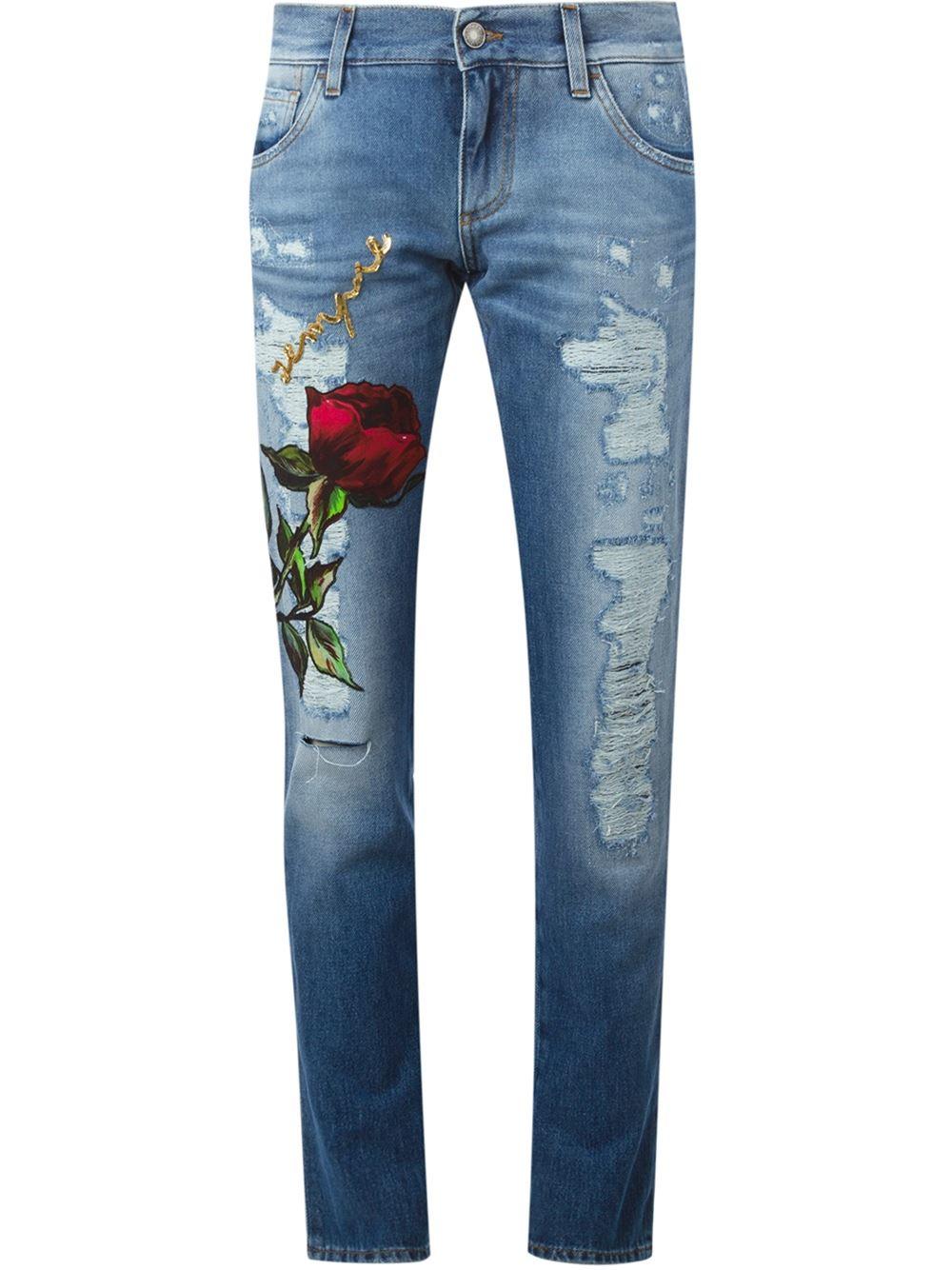 Jeans Dolceamp; Blue Boyfriend Gabbana Rose Patch dhQrst