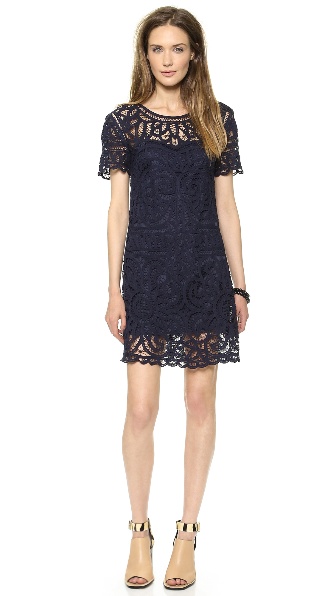 Short Sleeve Lace Dress Navy