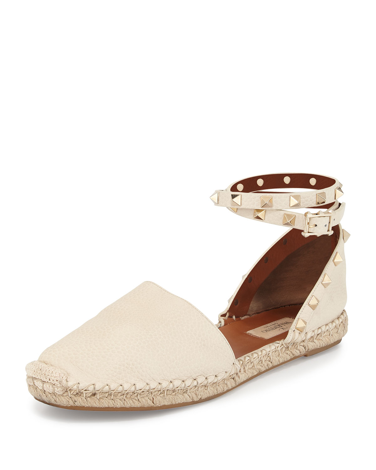 7cf6d347941b Lyst - Valentino Rockstud Leather Ankle-wrap Espadrille in White