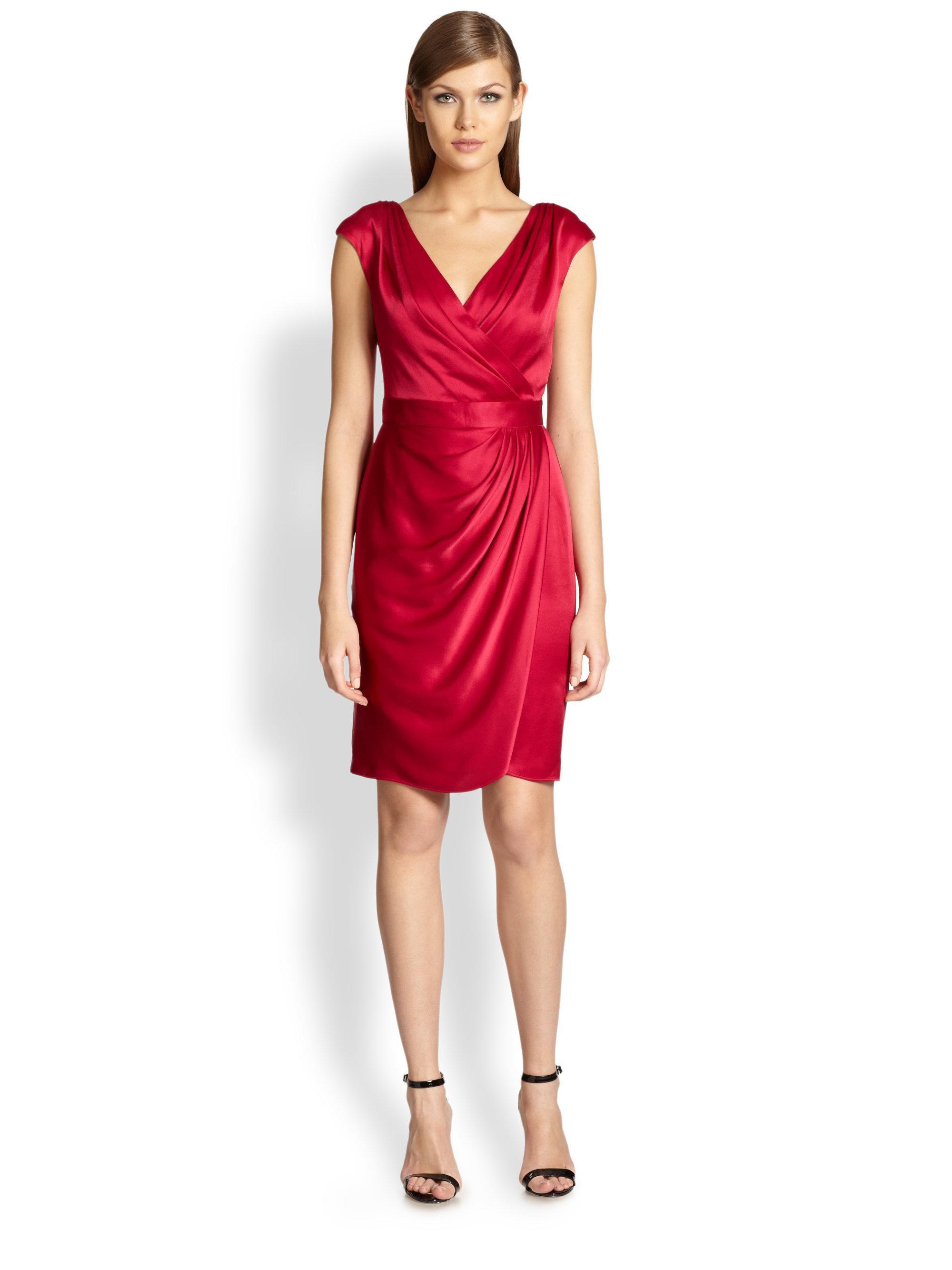 St John Faux Wrap Satin Dress In Raspberry Red Lyst