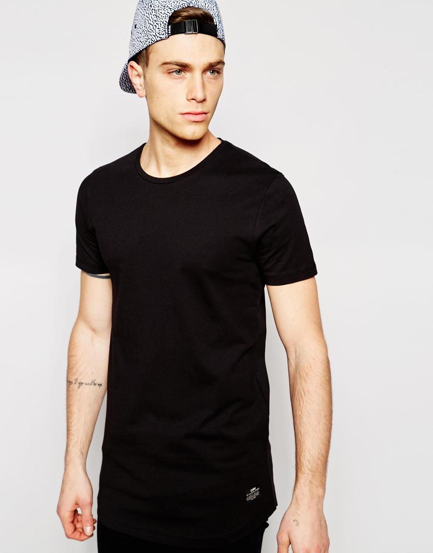 lyst jack jones longline t shirt in black for men. Black Bedroom Furniture Sets. Home Design Ideas