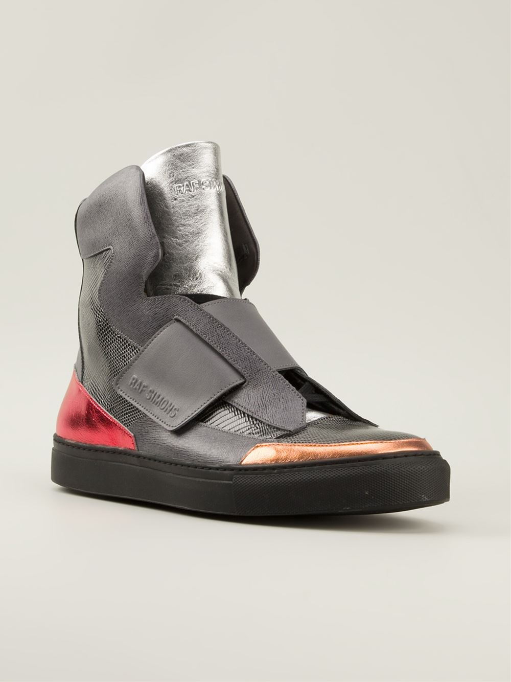 raf simons mens high top strapped sneaker in gray lyst. Black Bedroom Furniture Sets. Home Design Ideas