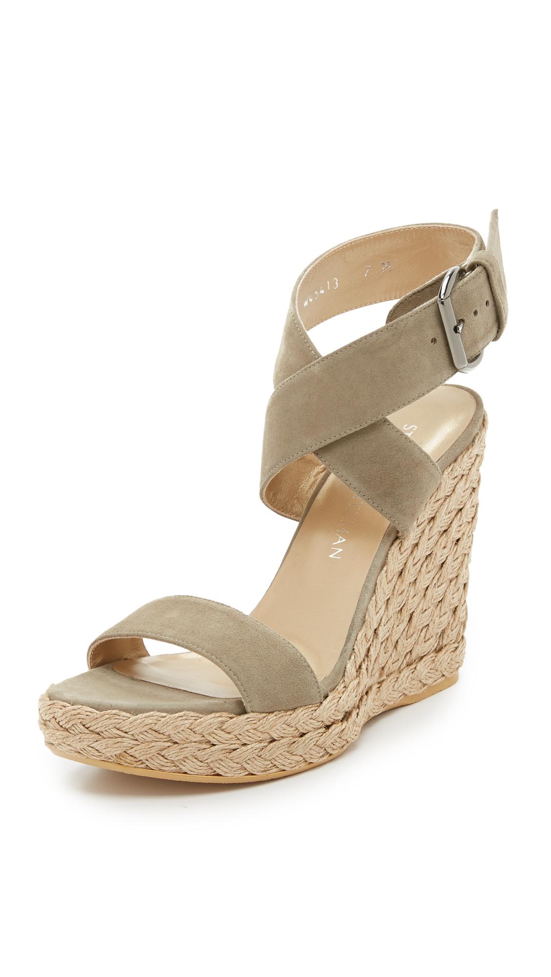 stuart weitzman x wedge sandals in lyst
