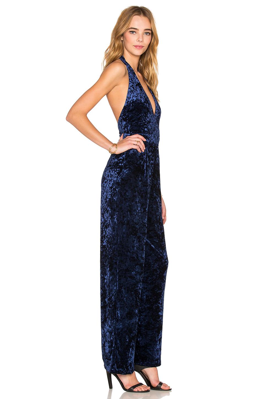 Oh my love I Feel Love Velvet Jumpsuit in Blue