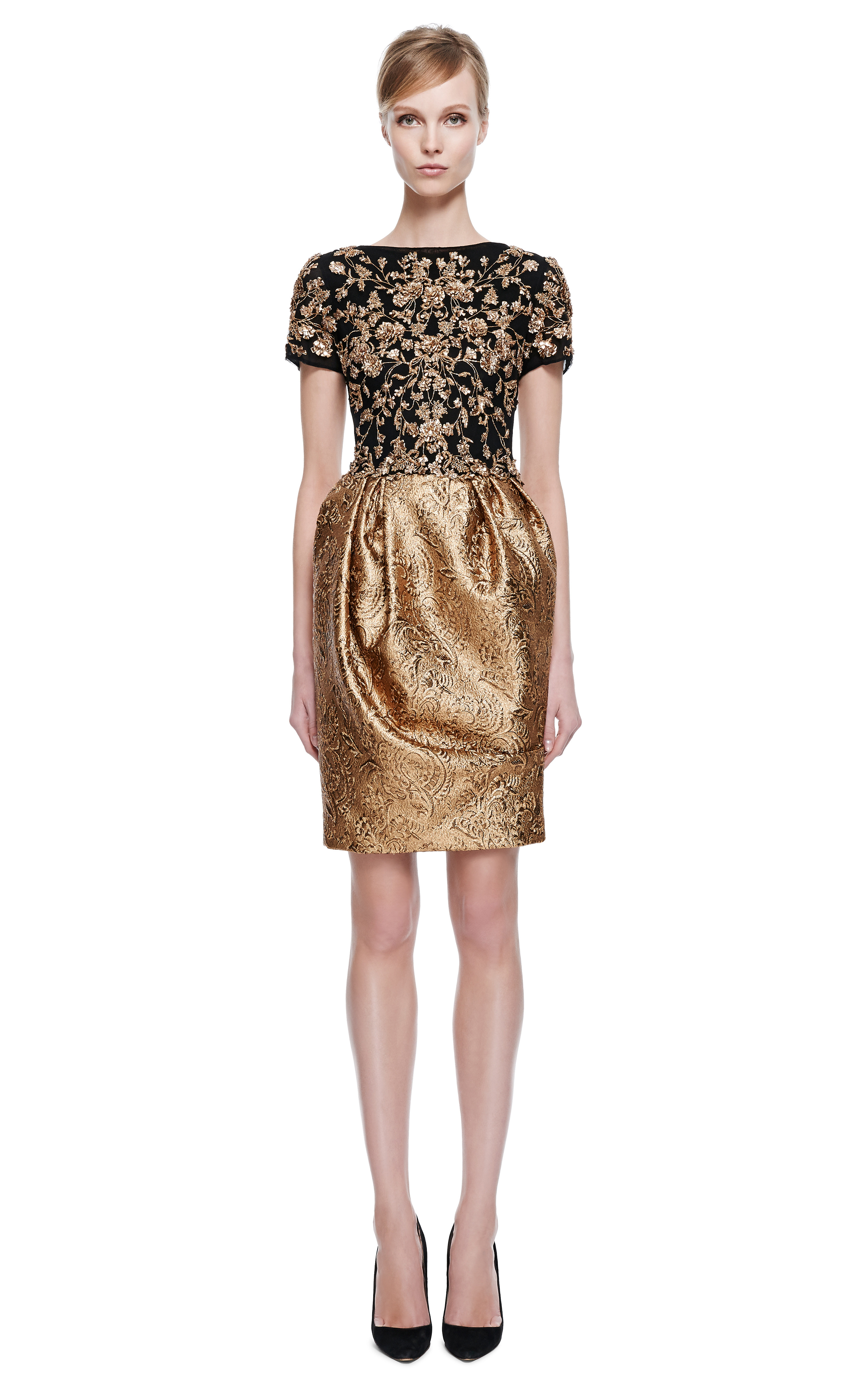 Marchesa Embroidered Short Sleeve Cocktail Dress With