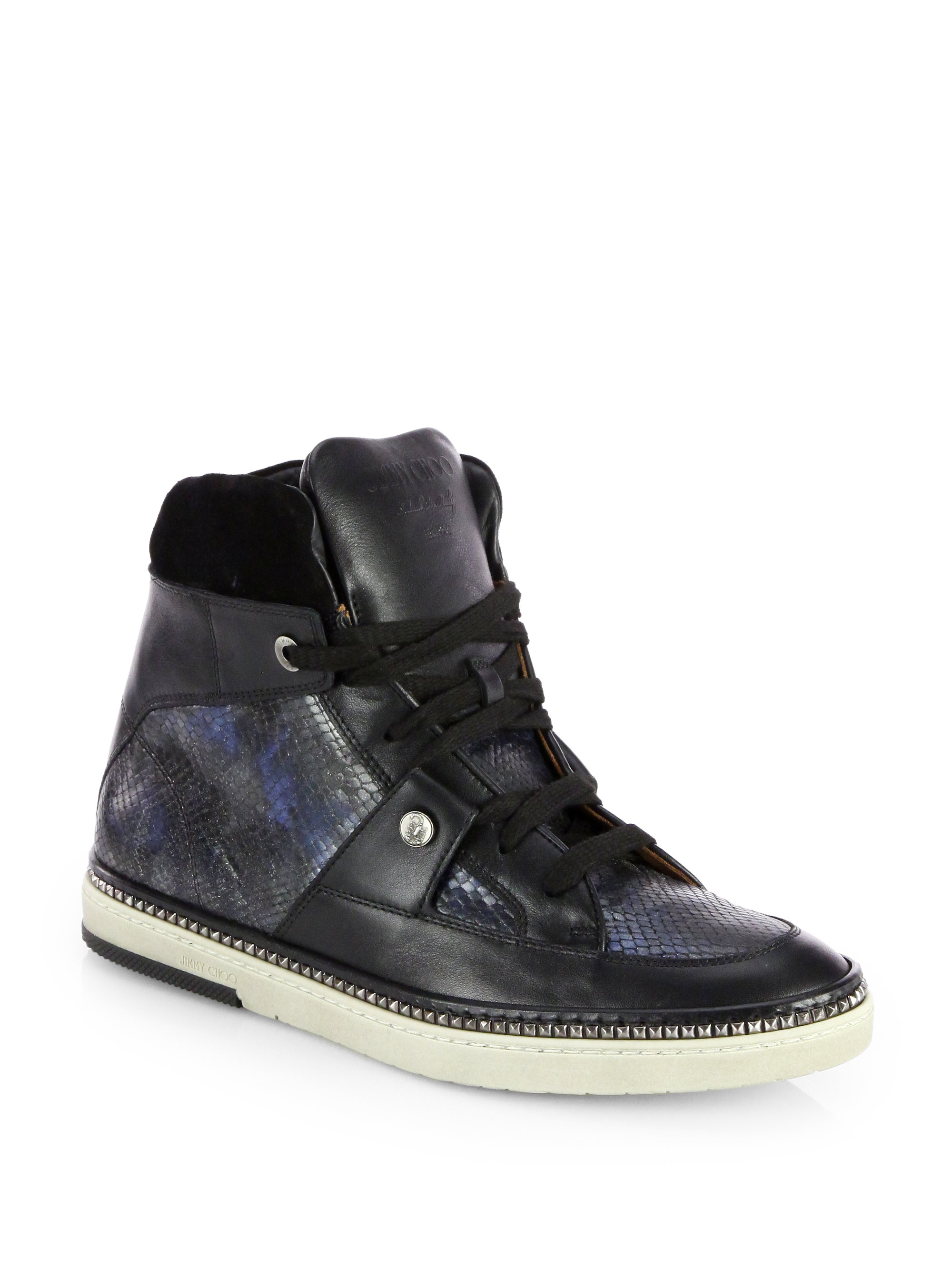 jimmy choo snakeembossed leather hightop sneakers in black for men lyst. Black Bedroom Furniture Sets. Home Design Ideas