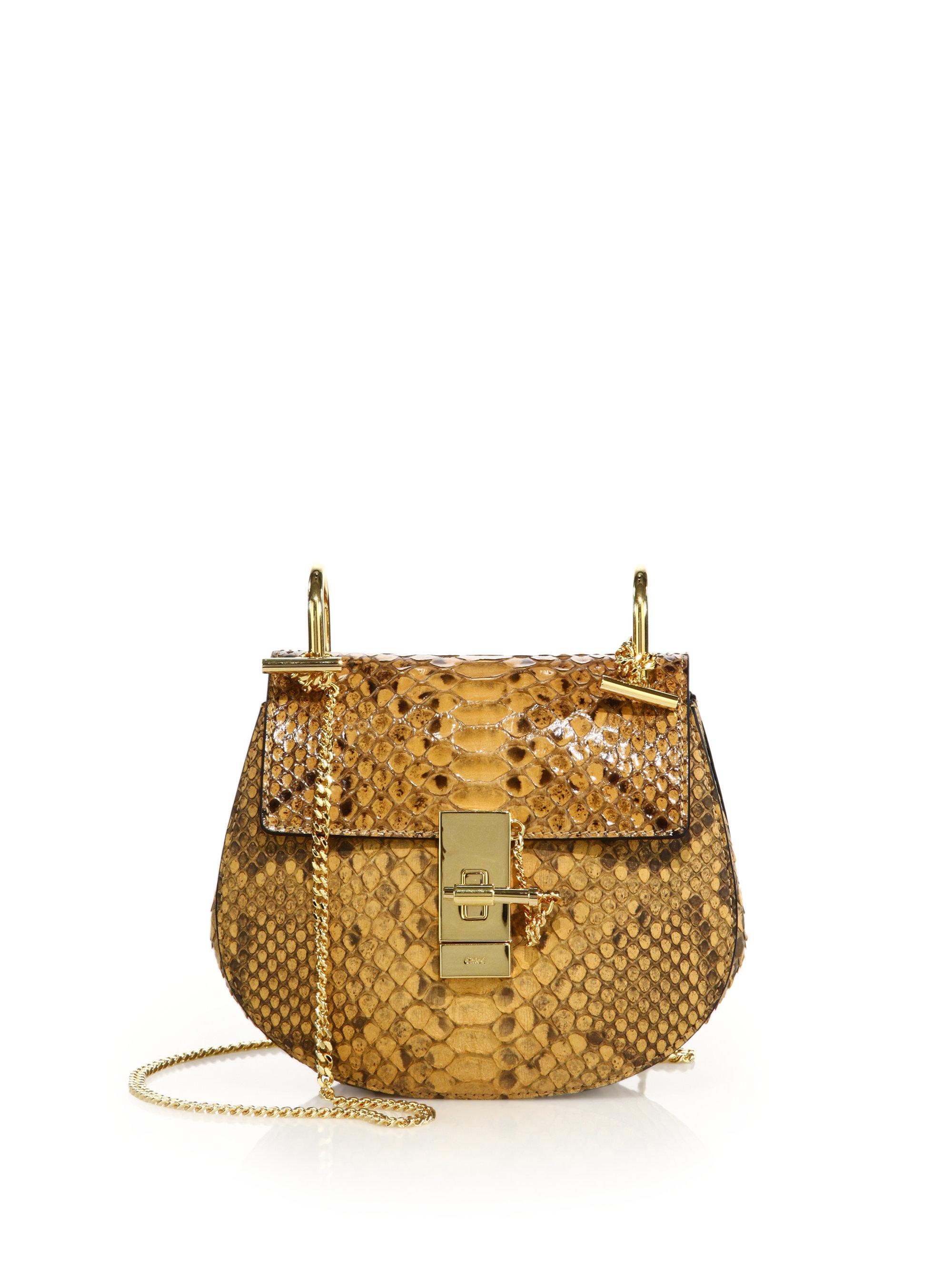 Chlo¨¦ Drew Mini Python Crossbody Bag in Yellow (honey) | Lyst