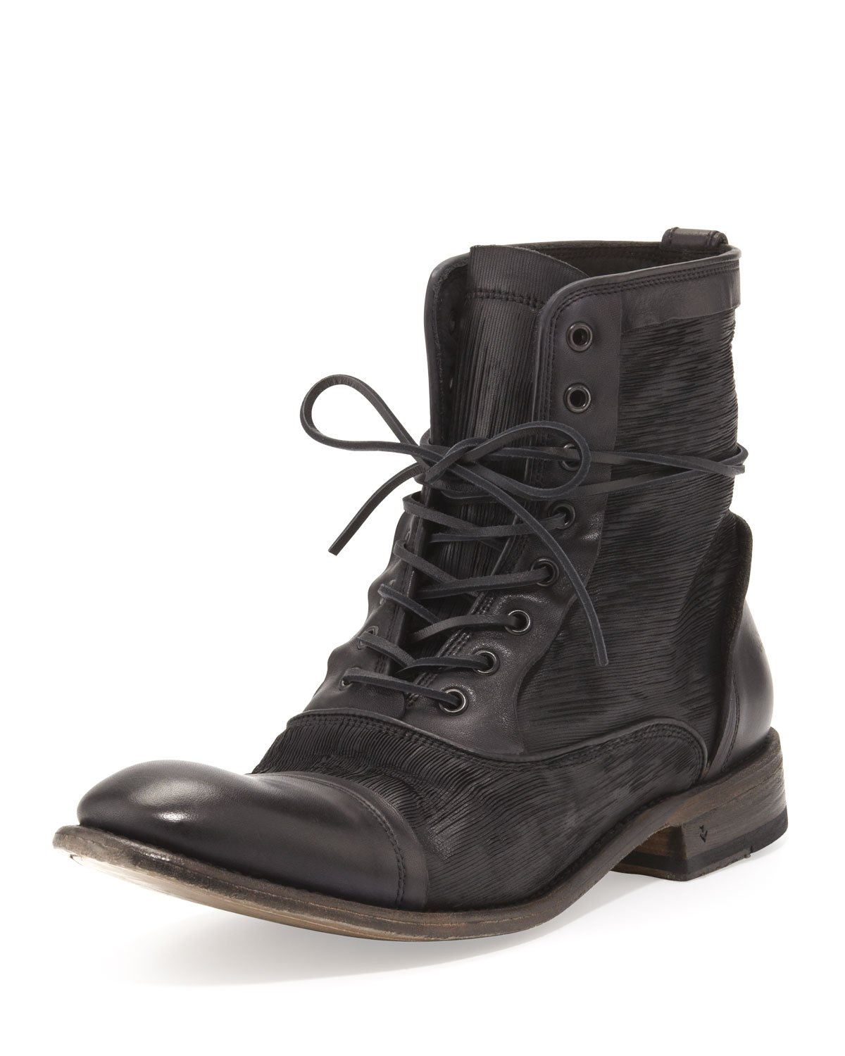 John Varvatos Freeman Raw Edge Lace Up Boot In Black For