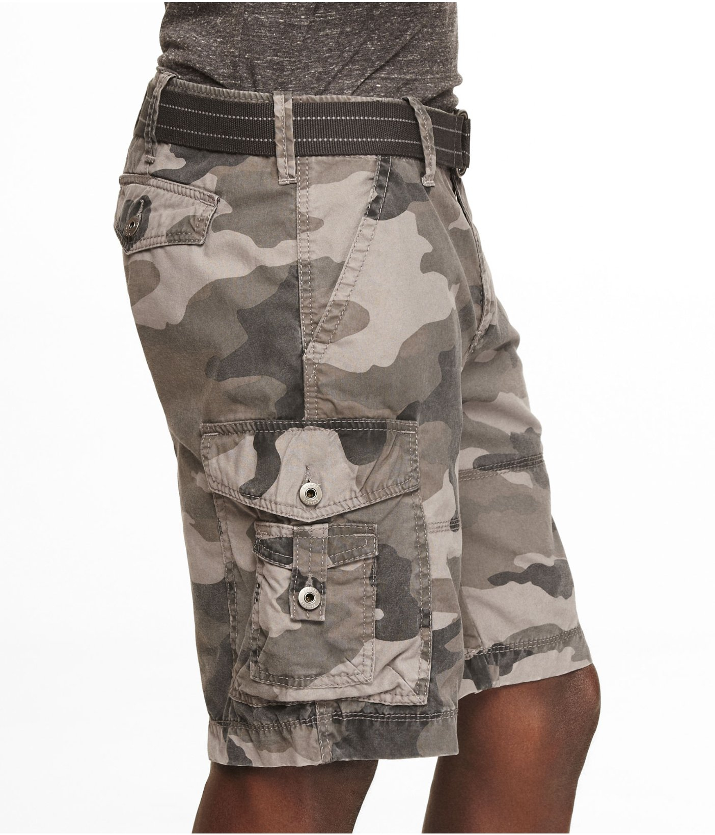 8c60782acd Express 10 Inch Belted Camouflage Cargo Shorts in Gray for Men - Lyst
