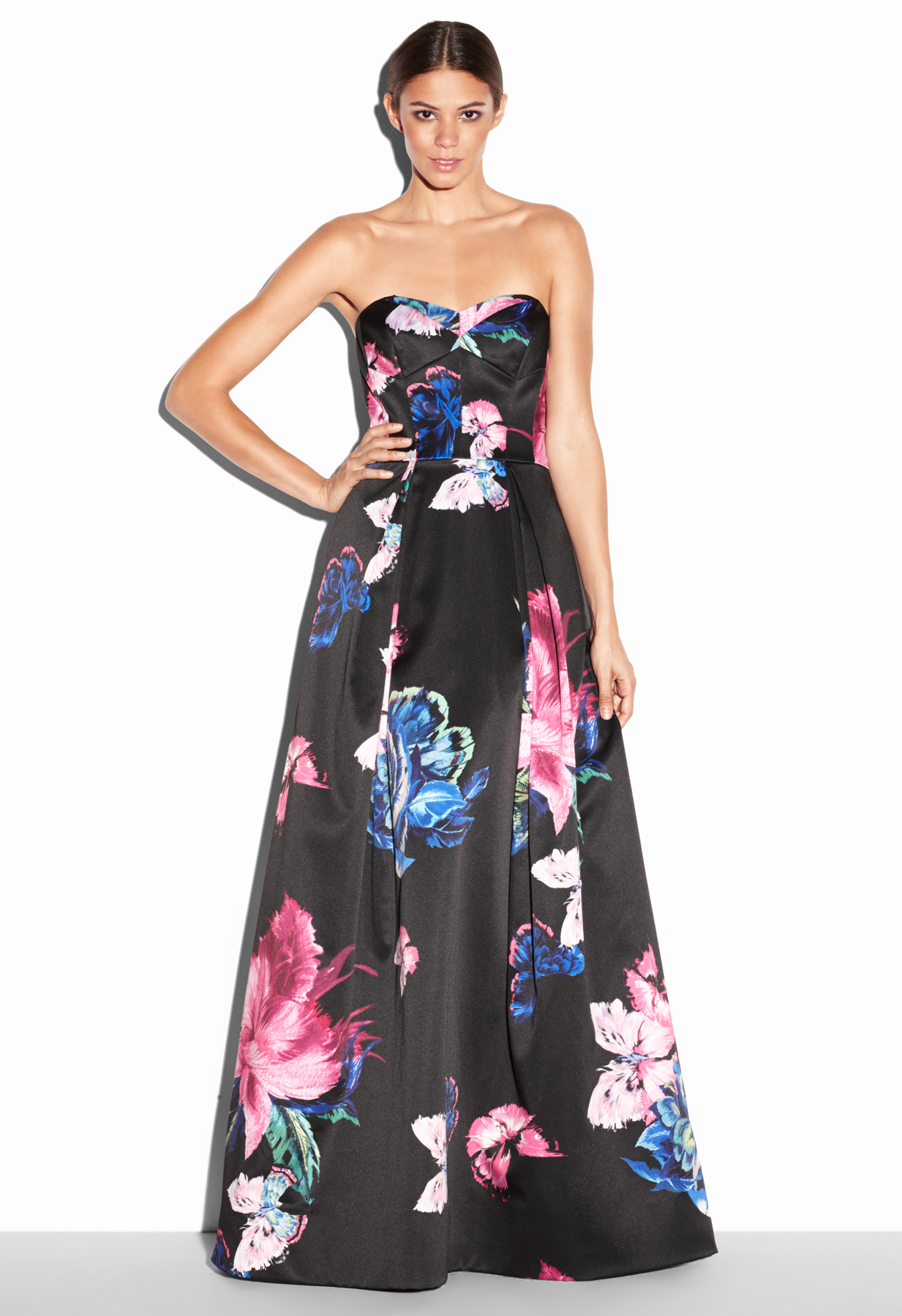 Lyst - Milly Butterfly Print Ava Strapless Gown