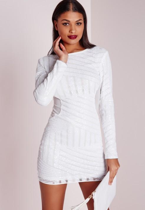 Long glove sleeve dress bodycon white