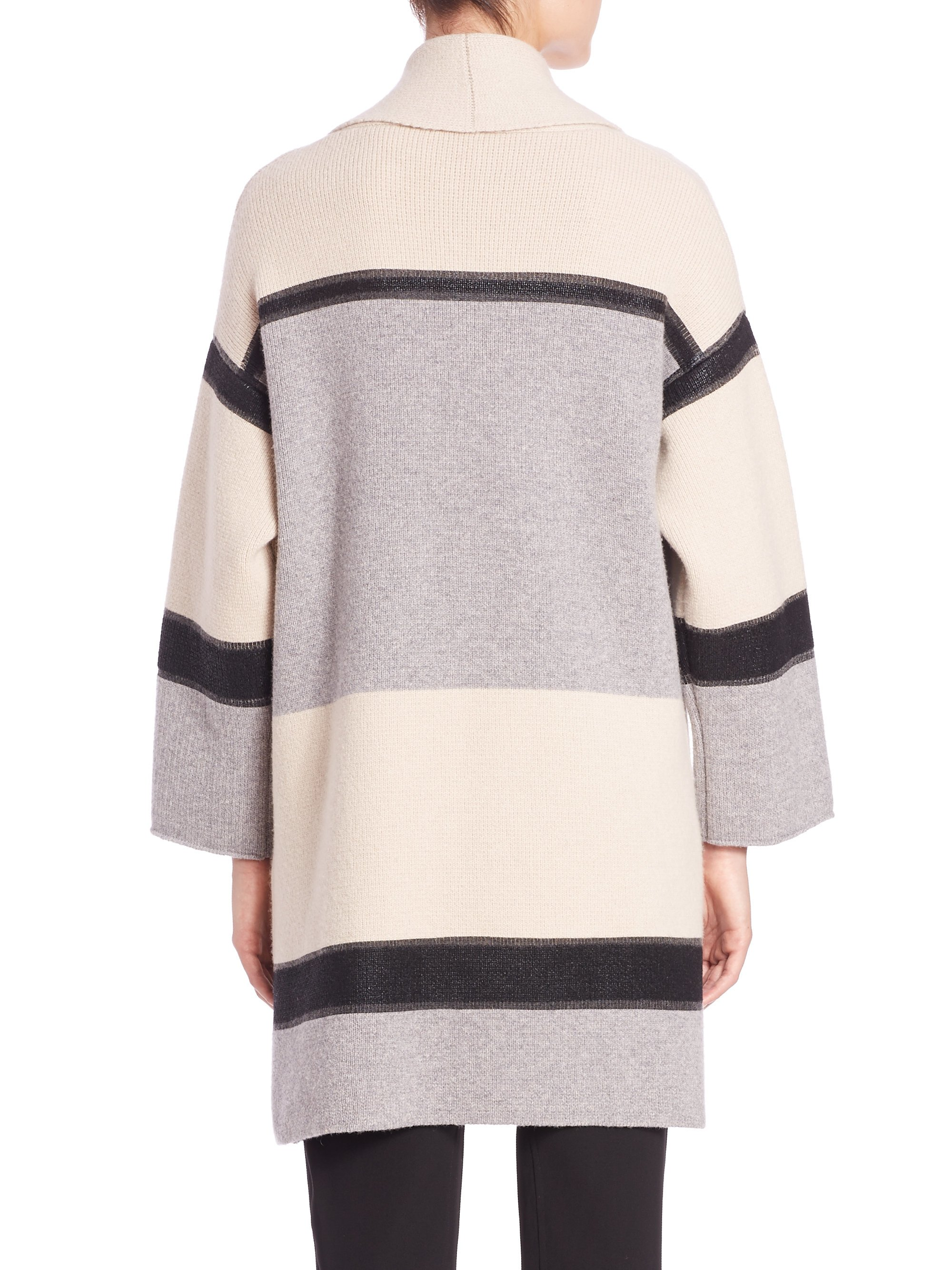 Vince Colorblock Wool-cashmere Car Coat in Gray | Lyst