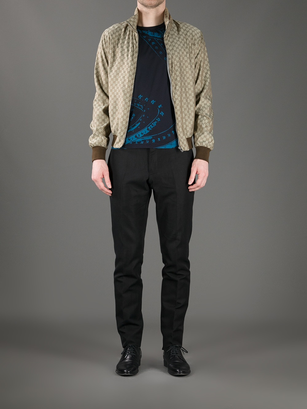 Lyst Gucci Logo Print Bomber Jacket In Metallic For Men