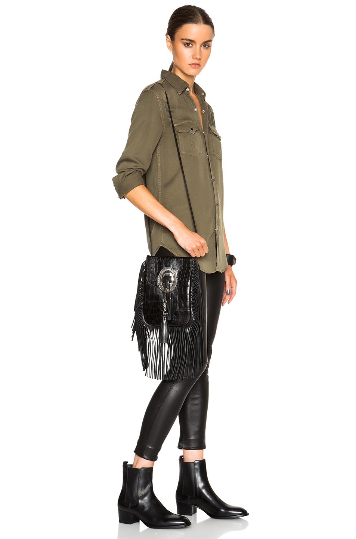Saint laurent Anita Crocodile-Embossed Leather Cross-Body ...