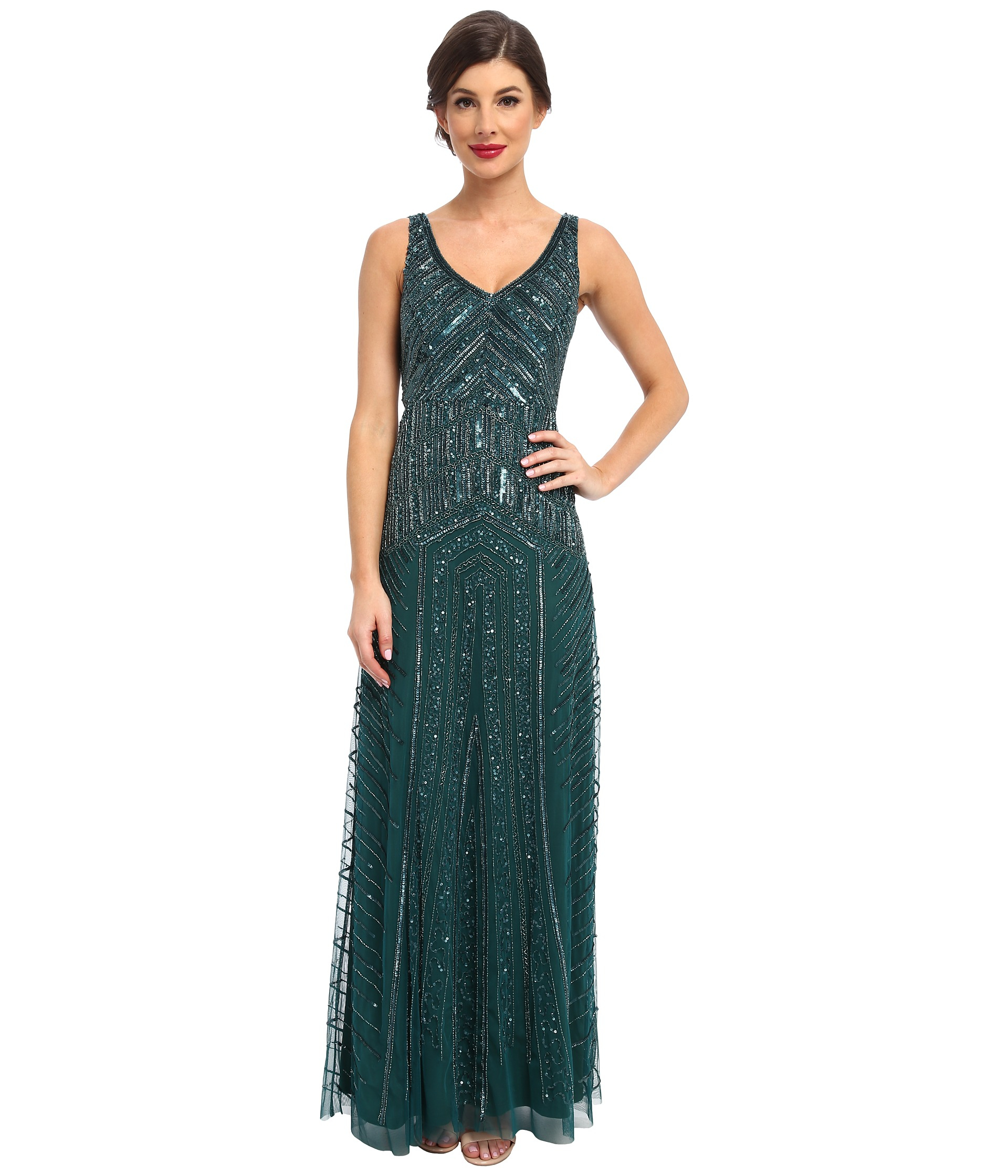 Adrianna Papell Long Beaded Dress In Green Lyst