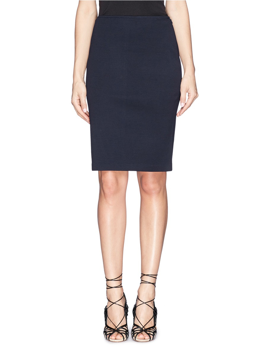 st knit pencil skirt in blue lyst