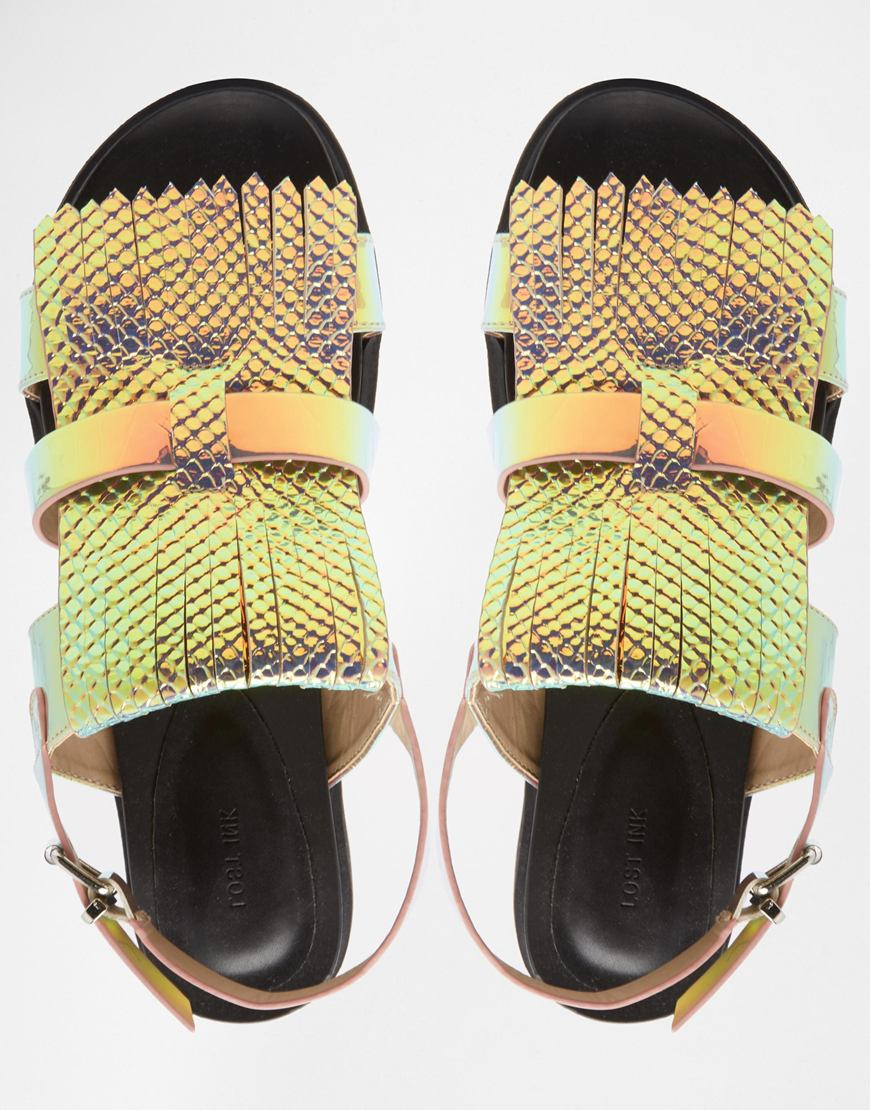 Lyst Lost Ink Noval Iridescent Fringe Flat Sandals In Green