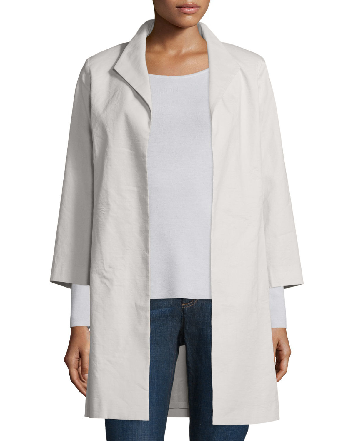 Eileen Fisher Polished Ramie High Collar Coat In White Lyst