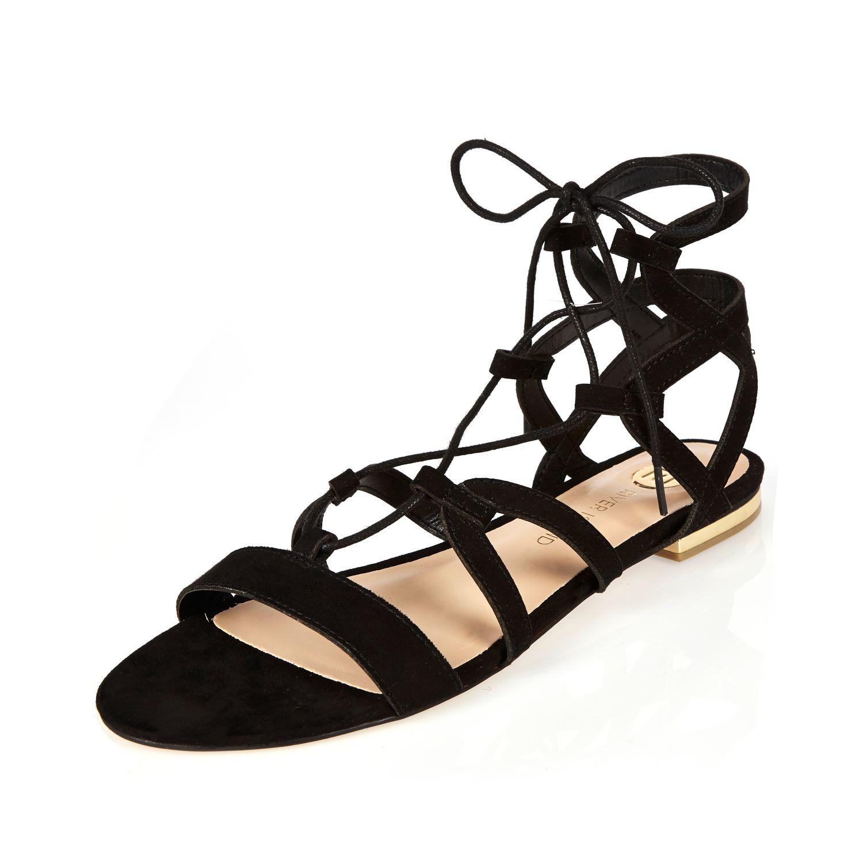 74f050dc168a Lyst - River Island Black Strappy Gladiator Sandals in Black