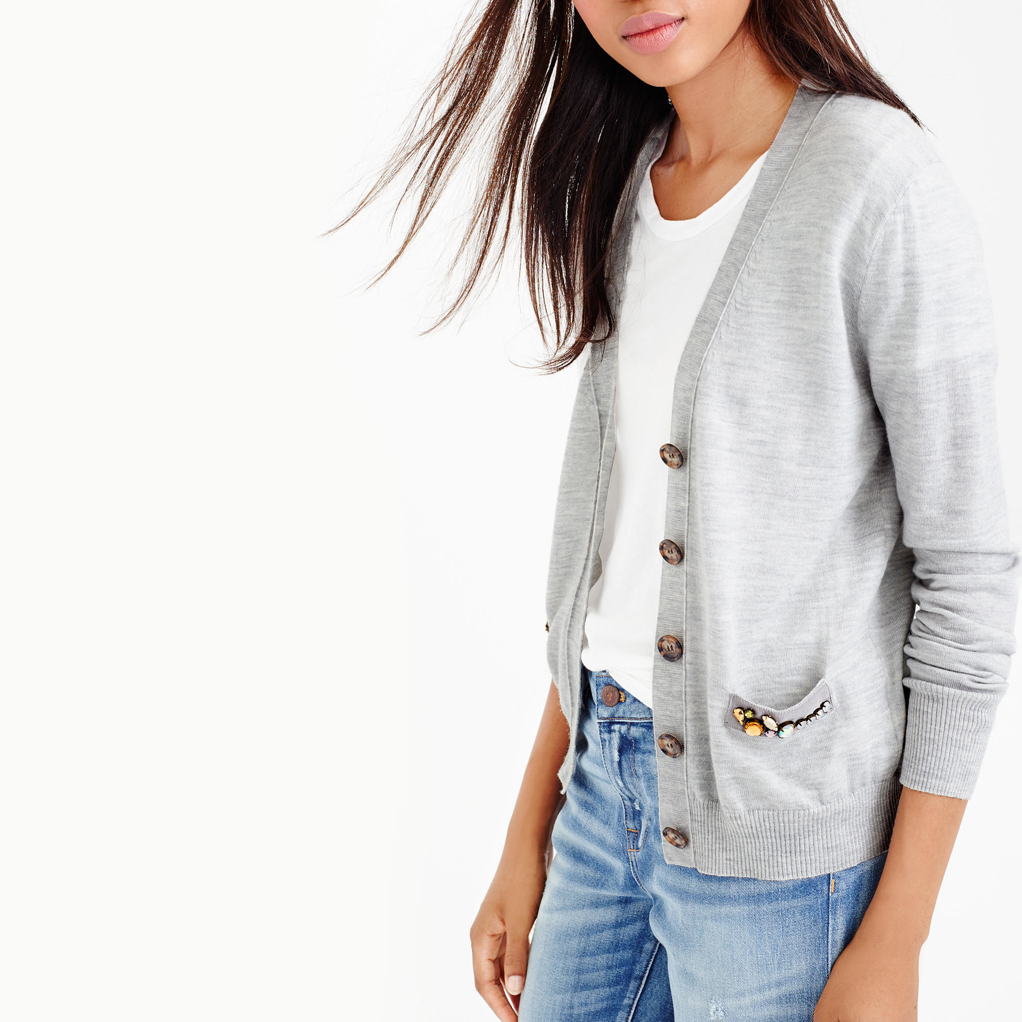 6bd8e49048 Lyst - J.Crew V-neck Cardigan Sweater With Embellished Pocket in Gray