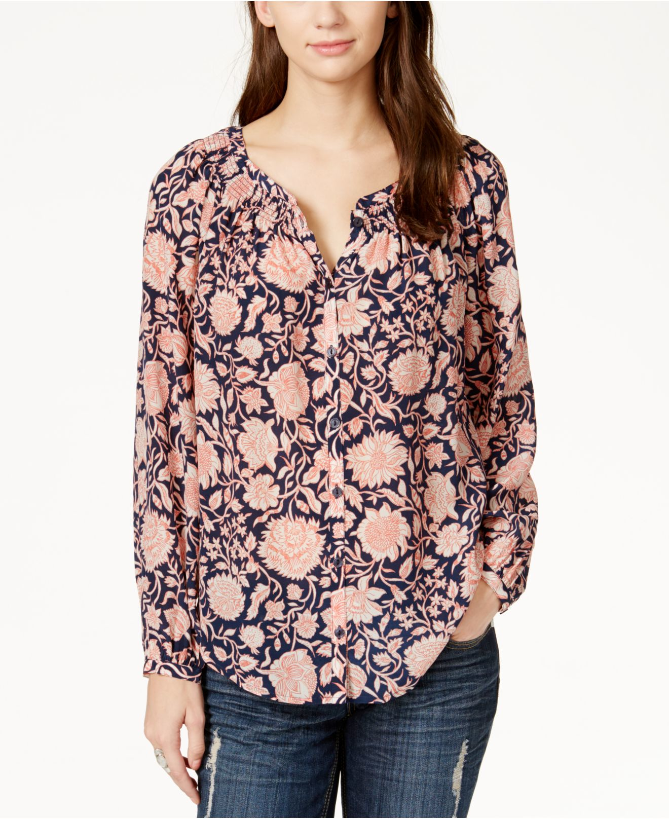 Lucky brand printed button down peasant shirt in blue lyst for Lucky brand button down shirts
